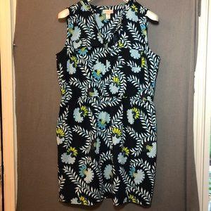 Loft floral, sleeveless, 1/2 buttoned dress